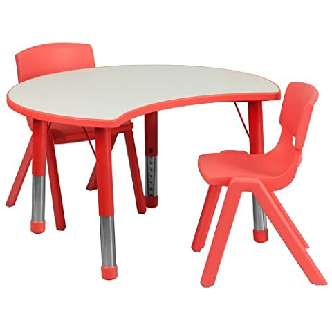 Flash Furniture 25.125''W x 35.5''L Cutout Circle Red Plastic Height Adjustable Activity Table Set with 2 Chairs