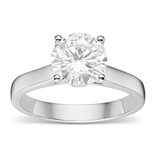 (Forever Brilliant Round 8.0mm Moissanite Engagement Ring-size 8, 1.96cttw DEW by Charles & Colvard)