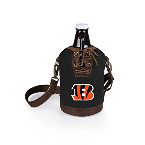PICNIC TIME NFL Cincinnati Bengals Canvas Lace-up Growler Tote with 64 oz Amber Glass Growler, Black