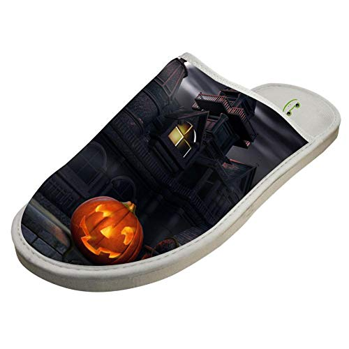 Indoor Cotton Shoes,Halloween Haunted Dark Castle 3D Printed Comfortable and Soft House Slippers -