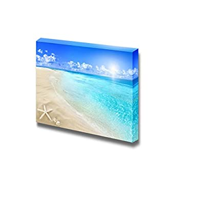 Canvas Prints Wall Art - Shells and Starfish on White Beach in a Sunny Summer Day | Modern Wall Decor/Home Art Stretched Gallery Canvas Wraps Giclee Print & Ready to Hang - 24