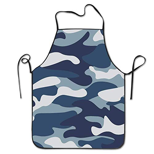 Mydufish Apron Navy Blue Gray Forest Camouflage Deluxe Aprons Personalized Printing Kitchen ()