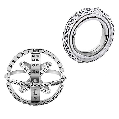 Yonhi Stainless Steel Ring Women Men,Lovers Alloy Finger Rings Gifts,New Necklace Ring Holder Pendant Astronomical Ball Rings (Silver Rings, 13)