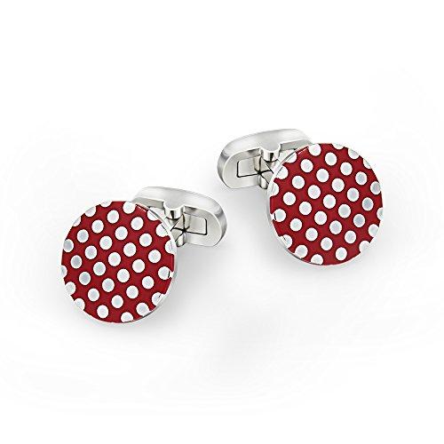 Mr.Van Polka Dots Cufflinks Enamel Red Round Wave Cuff Links Set Wedding Business Men's Jewelry Gift