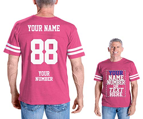 (Custom Cotton Jerseys - Make Your OWN Jersey T Shirts - Personalized Team Uniforms for Casual Outfit Hot Pink)