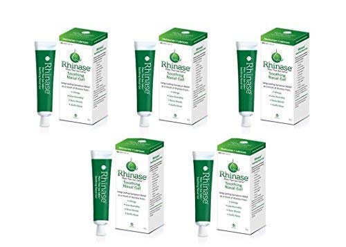 Rhinase Saline Nasal Gel (5 Pack) with 2 Wetting Agents and 2 Salts Allergy Relief Moisturizer - No Steroids no Aloe no Scent by Rhinase