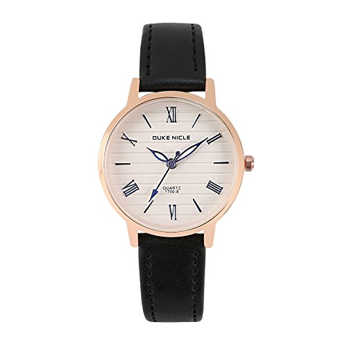 Womens Fashion Watch,Ladies Elegant Casual Waterproof Roman Numeral Quartz Wrist Watches for Girls with Comfortable Genuine Leather Band (Black)