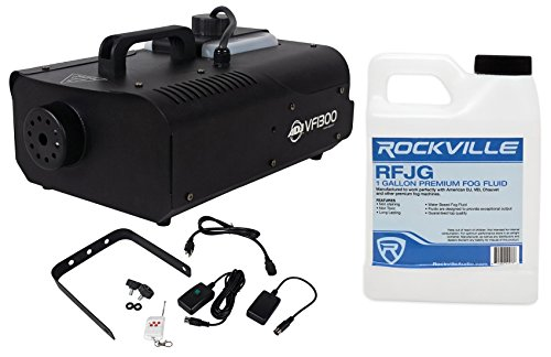 Package: American DJ VF1300 1300 Watt Portable Fog Machine with Wired Remote Control and High Efficiency Heater Block for Decreased Residue + Rockville RFJG Gallon Fog/Smoke Juice Fluid by American DJ