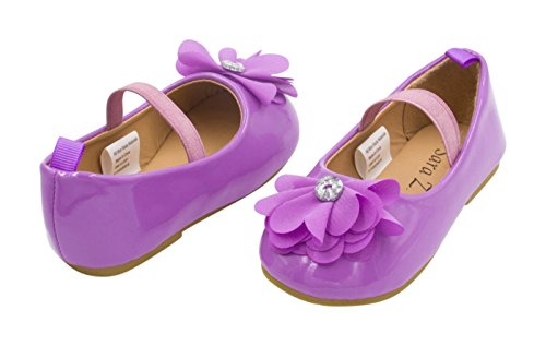 Sara Z Toddler Ballet Flat Patent Slip On Adorned with Chiffon Flower with Rhinestone, Lilac Size 11-12