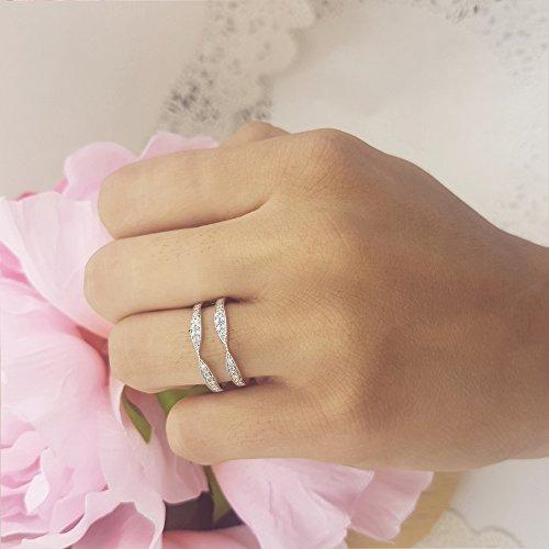 Dazzlingrock Collection 0.22 Carat (ctw) 14K Round Diamond Anniversary Wedding Band Guard Ring 1/4 CT, White Gold, Size 6 by Dazzlingrock Collection (Image #5)