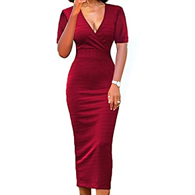 LAVENCHY Vogue Short Sleeve Bodycon Midi Skirt Dress for Women