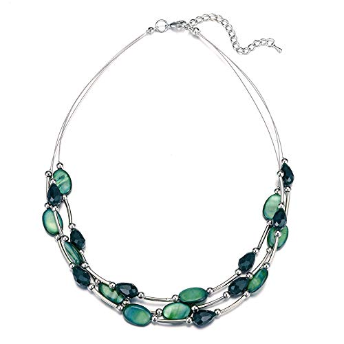 Pearl&Club Crystal Layered Statement Necklace for Women - Choker Necklace with Chunky Silver Chain, Birthday Gifts for Women (11-Dark - Stone Chunky Necklace