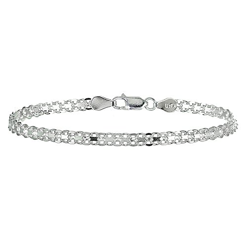 Sterling Silver 4mm Polished Bismark Chain Bracelet (Link Bismark)