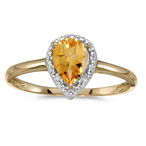 FB Jewels 10k Yellow Gold Genuine Birthstone Solitaire Pear Citrine And Diamond Wedding Engagement Statement Ring - Size 10.5 (1/2 Cttw.)