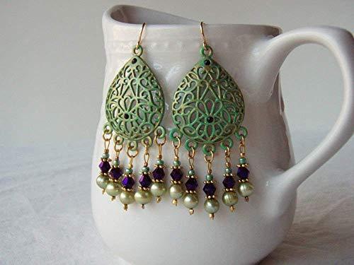 (Purple Green Boho Chandelier Earrings Cultured Freshwater Pearl Rhinestones & Gold Plated Earwires )
