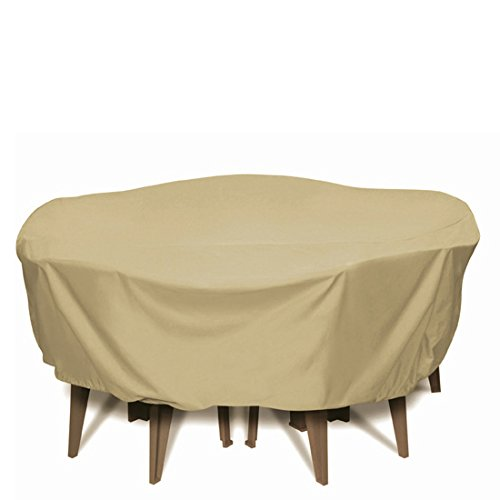 (Two Dogs Designs 2D-PF84005 Round Table Set Cover With Level 4 UV Protection, 84-Inch, Khaki)