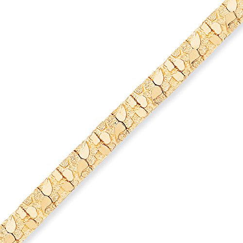 14k Gold Solid Nugget Bracelet with Box and Tongue Clasp (9.4mm) - Yellow-Gold, 8 in (Bracelet Yellow Gold Nugget Solid)
