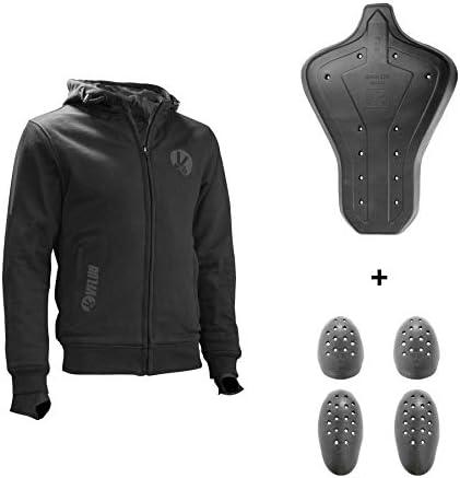 VFLUO Full Protect Sweatshirt™, Sudadera Motocicleta con Capucha 100% de Kevlar Forrada, Reflectantes 3M Technology™, Protección íntegra antichoque Ultra Suaves SAS-Tec™, Negro, V Motociclista, XS