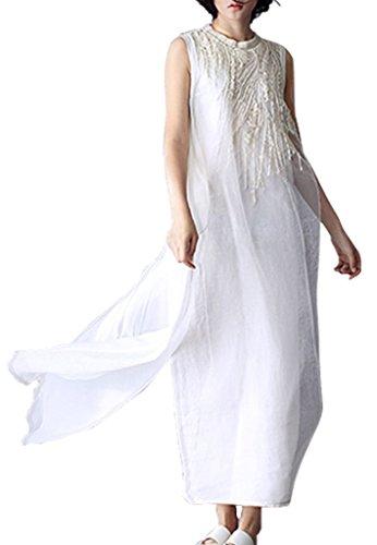 Silk Linen Dress (Musever Women's Fake 2 Pieces Embroidery Linen Long Dress Mulberry Silk Dress)