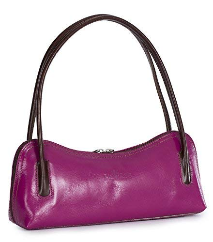 LIATALIA Genuine Italian Leather Small Satchel Clutch Evening Shoulder Bag - ARYA [Pink - Brown Trim] ()