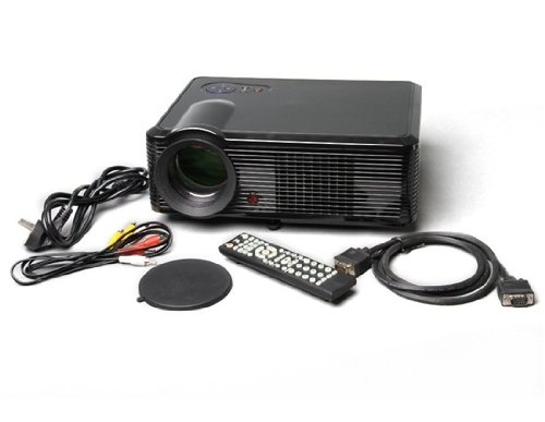 """5"""" Active Matrix TFT LCD LED Projector with 1080P HDMI Output and EU Plug (Black)"""