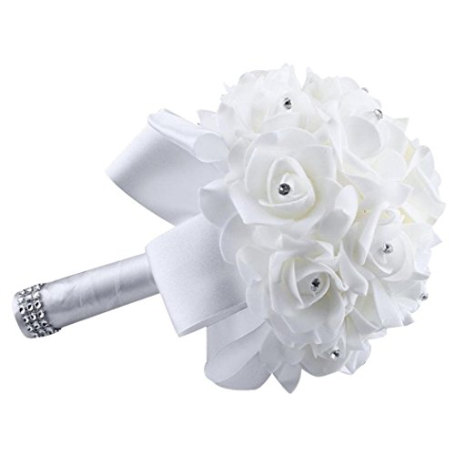 Kingfansion Crystal Roses Pearl Bridesmaid Wedding Bouquet Bridal Artificial Silk Flowers (White)