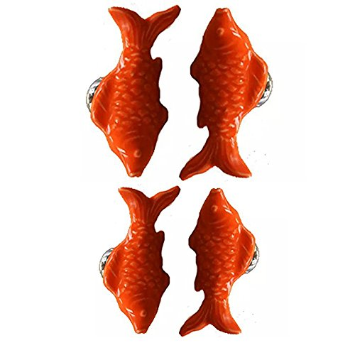 - CSKB ORANGE 4 PCS 60mm Koi Fish-shaped Ceramic Door Knob For Cupboard/Cabinet/Bathroom/Drawer Great Furniture Ornaments For Nursery/Baby Room 6 Colors Available