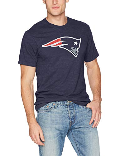 Nfl Game Gear Tee - NFL New England Patriots Men's OTS Slub Tee, Distressed Logo - Light Navy, Large