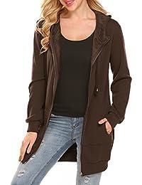 Women's Long Zip Up Hoodies Fleece Jacket Lightweight Tunic Sweatshirt With Kangaroo Pockets