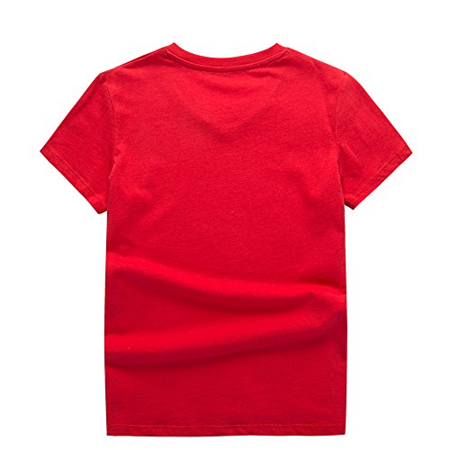 UNACOO 2 Packs 100% Cotton Short-Sleeve V-Neck T-Shirt for Boys and Girls(red+Hemp Blue, m(7-8T)) by UNACOO (Image #4)