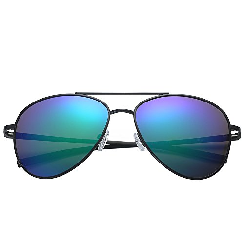 Polarspex Classic Men and Women Polarized Flex Hinge Aluminum Aviator Sunglasses Aluminum Black | Polarized Kryptonite
