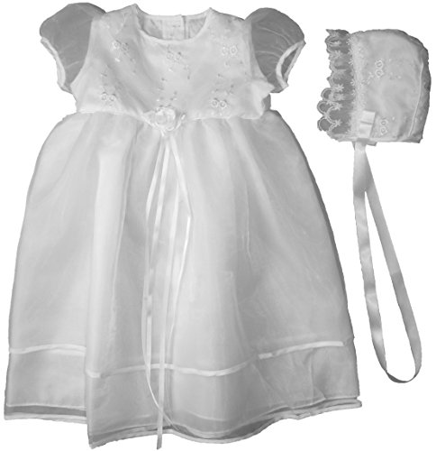 Christening Day White Organza Christening Gown With Embroidered Bodice - 6M