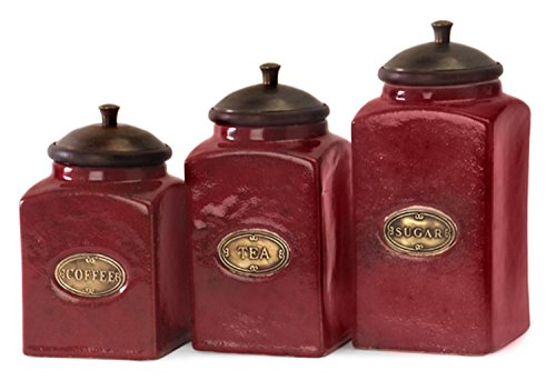 (IMAX 5268-3 Red Ceramic Canisters - [Set of 3] Handcrafted Kitchenware with Mango Wood Lid, Brass Content Label)