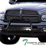 dodge aries - Topline Autopart Black Bull Bar Brush Push Front Bumper Grill Grille Guard With Skid Plate V2 For 02-05 Dodge Ram 1500 ; 06-09 1500 Mega ( Extended Crew ) Cab ; 03-09 2500 / 3500