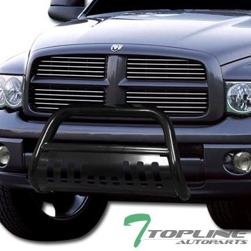 Topline Autopart Black Bull Bar Brush Push Front Bumper Grill Grille Guard With Skid Plate V2 For 02-05 Dodge Ram 1500 ; 06-09 1500 Mega ( Extended Crew ) Cab ; 03-09 2500 / 3500 - 1500 Aries Grille Guard