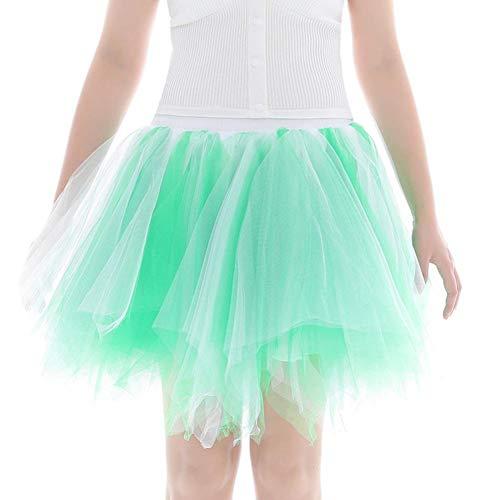 Sixcup Femme Jupe Ballet Tutu Court Irrgulier en Tulle Couleurs varies Ballet Tutu en Tulle Jupe Courte Style annes 50 DE Couleur Menthe Verte