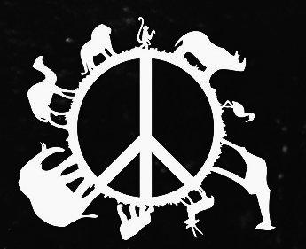 Animal Planet Peace Sign Decal Vinyl Sticker|Cars Trucks Vans Walls Laptop| WHITE |5.5 x 4.75 in|CCI917