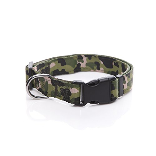 TAIDA Durable Dog Collar, Nylon Camouflage Adjustable Collar, 1 Inch Wide, for Large Medium Dog (Green)