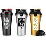Hydra Cup - Dual Threat, Shaker Bottle, 28 Ounce Shaker Cup, Made in USA (3, Beast, Get it Done, Every Day)