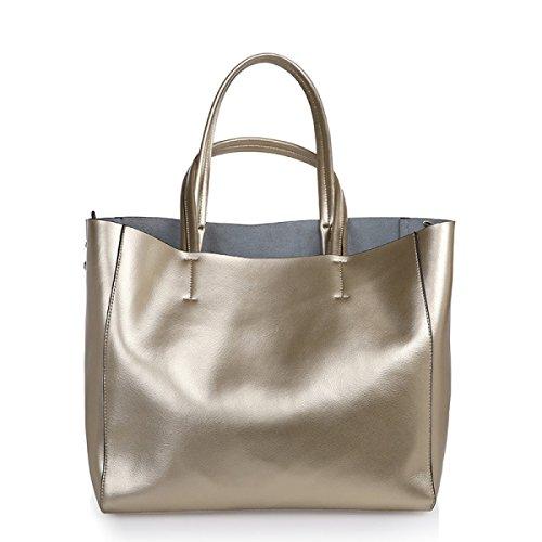 RENHONG 2018 Nuevo Bolso De Cuero Para Mujer De Moda Shoulder Messenger Bolsa De Gran Capacidad Para Mujer Shopping Bag (Silver Red Blue Black Gold),Black-31*15*31cm Gold