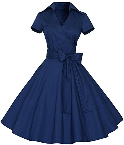 Ayli Women's V Neck Short Sleeve 1950s Vintage Retro Midi Swing Blue Dress, - Fashion 1950s Retro