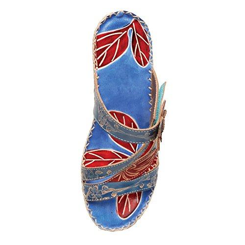 Kvinna Antigua Kil Sandaler - Röd Blommor & Blått Skinn 1,5 Klackar