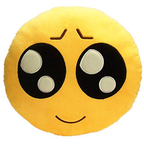 LI&HI 32cm Emoji Smiley Emoticon Yellow Round Cushion Pillow Stuffed Plush Soft Toy-Independent Vacuum Packing (Cute Face)