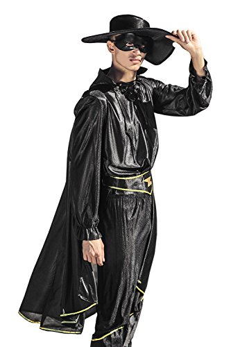 Old Sailor Costumes (Adult Men Black Mask Costume Mexican Avenger Outlaw Noble Robber Vendetta Cosplay (Black))