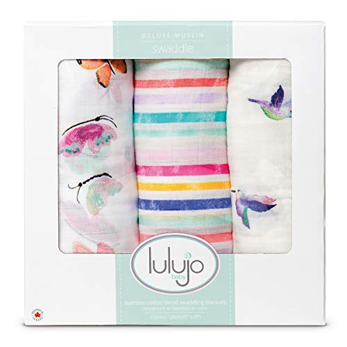 Lulujo Baby Set of 3 Deluxe Muslin Swaddle Blankets, Garden Friends, 47 x 47-Inch