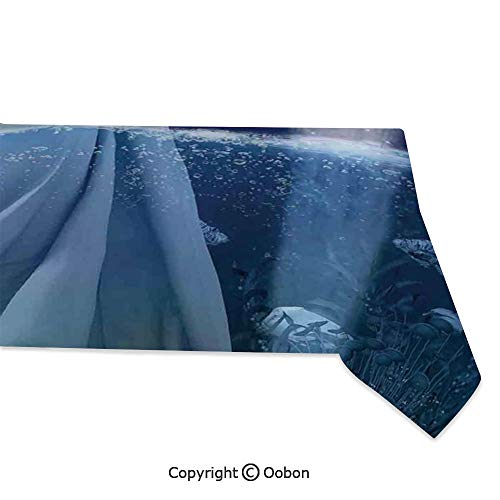 - oobon Space Decorations Tablecloth, Aquarius Lady with Pail in The Sea Water Signs Saturn Mystry at Night Stars Decorative, Rectangular Table Cover for Dining Room Kitchen, W60xL104 inch