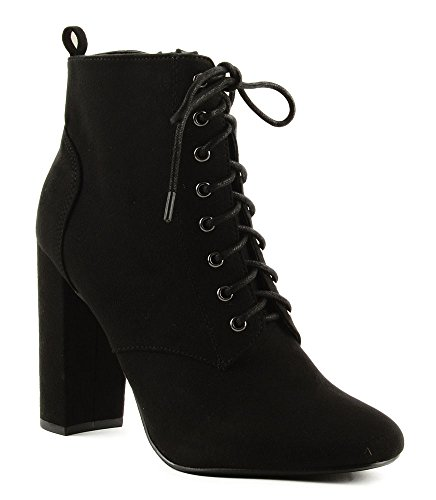 Delicious Women's Eminent Almond Toe Lace Up High Heel Ankle ()