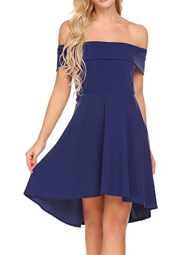 Funpor Women's Off Shoulder Ruffle High Low Irregular Midi Cocktail Party Dress