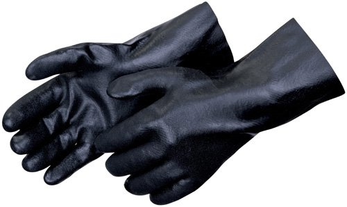 Liberty 2634 PVC Coated-Supported Jersey Lined Men's Glove with 14'' Gauntlet, Chemical Resistant, Black (Pack of 12)
