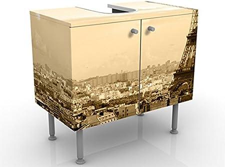 Meuble Sous Vasque Design I Love Paris 60x55x35cm Petit 60 Cm De Large Reglable Table De Lavabo Armoire De Lavabo Lavabo Meuble Bas Baignoire Salle De Bains Armoire De Salle Bains Amazon Fr